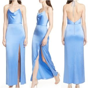Alice & Olivia Eliza Cowl Neck High Slit Maxi